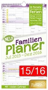 FamilienPlaner 2016 Wandkalender, Chäff-Timer, 5 Spalten, 22,5 x 42cm, 18 Monate bis Dez 2016 - 1